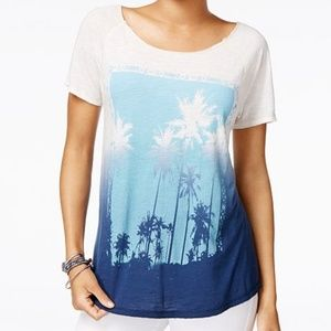 Lucky Brand palm tree blue and white shirt